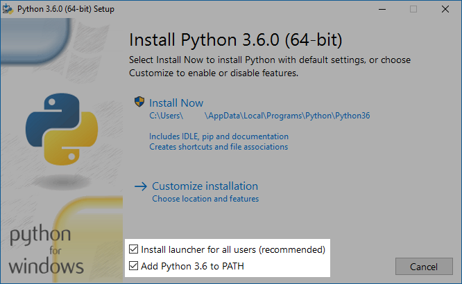 Screenshot instalace Pythonu
